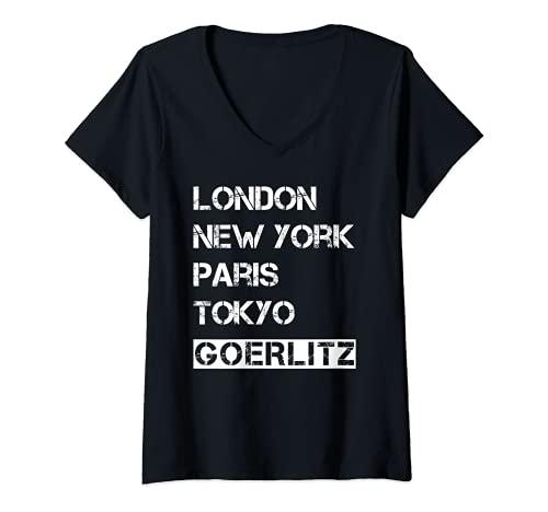 Damen Meine Stadt! Geburtsort & Heimatliebe Görlitz T-Shirt mit V-Ausschnitt
