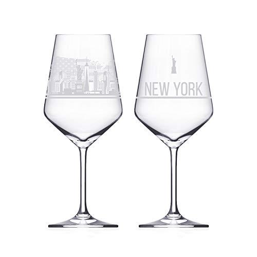 3forCologne Weinglas Dresden Sehenswürdigkeiten, Souvenir Weingläser 2er Set für Rotwein und Weißwein, Kristallglas
