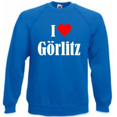 Reifen-Markt Sweatshirt Damen I Love Görlitz Größe XL Farbe Blau Druck Weiss