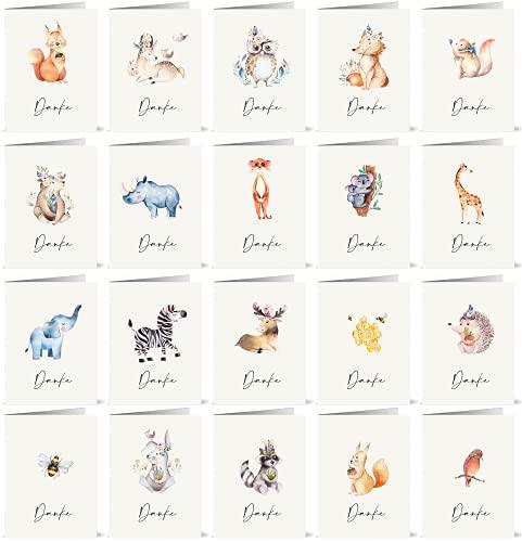 20 Dankeskarten mit 20 verschiedenen Aquarell-Tierzeichnungen auf der Vorderseite