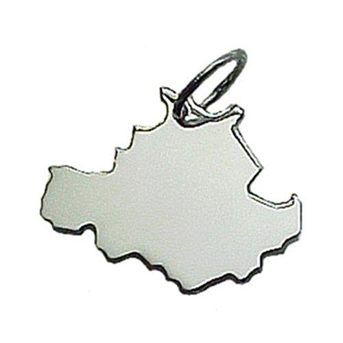 City Souvenir Shop Anhänger Landkarte Dresden, 925er Sterling Silber