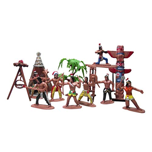 STOBOK 13pcs Wild West Cowboys Indians Toy Plastic Figures Toy Soldiers Native American Action Figurines Boy Game Educational Toys Accessories