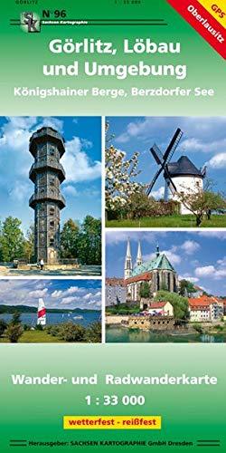 Görlitz, Löbau und Umgebung - Königshainer Berge, Berzdorfer See: Wander- und Radwanderkarte 1:33 000 GPS-fähig, wetterfest, reißfest