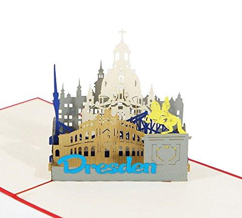 3D KARTE'Dresden' I Pop-Up Karte als Reise-Gutschein, Geburtstagskarte, Geldgeschenk, Urlaubskarte, Souvenir aus Deutschland