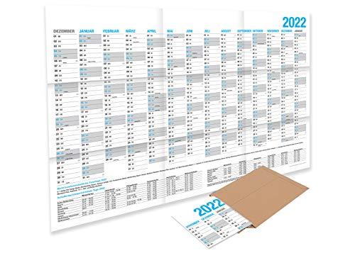 XXL Wandkalender 2022 / Kalender Jahresplaner - 14 Monate Jahreskalender - GEFALZT in Poster Größe (86 x 59 cm)