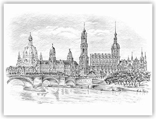'Dresden -'Blick auf die historische Altstadt' - original signierter Kunstdruck von einer Bleistiftzeichnung von Michael Richter - Dresden (Dresden Zeichnung)