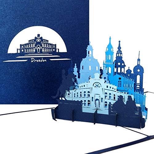 """Pop Up Karte """"Dresden - Panorama mit Oper & Frauenkirche"""" - 3D Grußkarte als Souvenir, Geschenk, Geburtstagskarte, Einladungskarte & Gutschein zum Städtetrip"""
