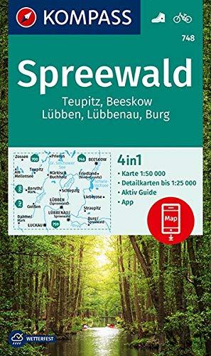 KV WK 748 Spreewald, Teupitz, Burg: 4in1 Wanderkarte 1:50000 mit Aktiv Guide und Detailkarten inklusive Karte zur offline Verwendung in der KOMPASS-App. Fahrradfahren. (KOMPASS-Wanderkarten)
