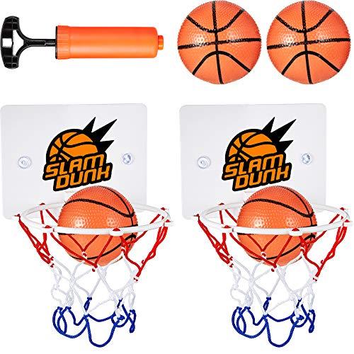 7 Stücke Mini Basketball Korb Set Enthält 2 Stücke Mini Basketball Korb Set mit 4 Stücke Bällen und Inflation Pumpe für Schlafzimmer Badezimmer Toilette Büro Desktop Basketball Spiel Gefälligkeiten
