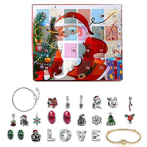 qianele Armband, Weihnachten Adventskalender Schmuck Geschenkbox DIY Armband Halskette Zubehörset Für Mädchen