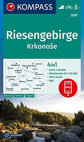 KOMPASS Wanderkarte Riesengebirge, Krkonose: 4in1 Wanderkarte 1:50000 mit Aktiv Guide und Detailkarten inklusive Karte zur offline Verwendung in der ... Langlaufen. (KOMPASS-Wanderkarten)