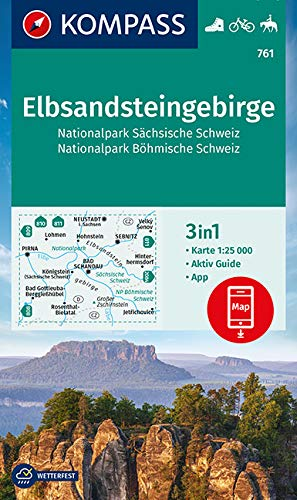 KOMPASS Wanderkarte Elbsandsteingebirge, Nationalpark Sächsische Schweiz, Nationalpark Böhmische Schweiz: 3in1 Wanderkarte 1:25000 mit Aktiv Guide ... Reiten. (KOMPASS-Wanderkarten, Band 761)