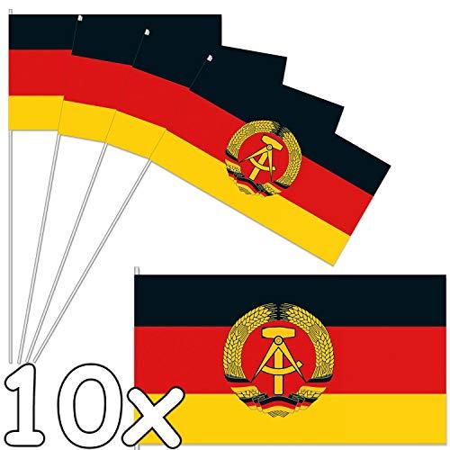 DH-Konzept 10 Papierflaggen * DDR * als Deko für Länder-Party und Geburtstag | Fahnen Deutsch Demokratische Republik Mottoparty Fähnchen Dekoration Hammer Sichel