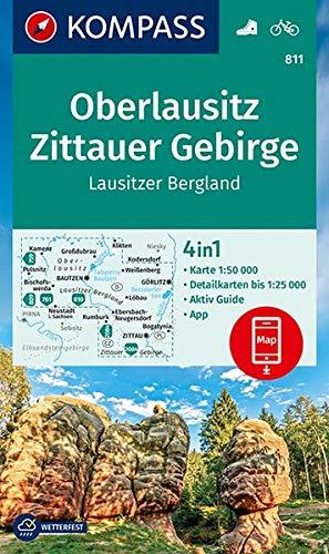 KV WK 811 Oberlausitz, Zittauer Gebirge: 4in1 Wanderkarte 1:50000 mit Aktiv Guide und Detailkarten inklusive Karte zur offline Verwendung in der ... (KOMPASS-Wanderkarten, Band 811)