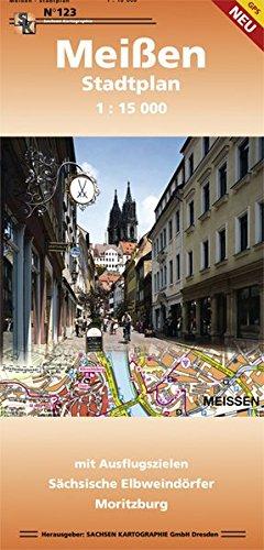 Stadtplan Meißen: mit Ausflugszielen Moritzburg und Diesbar-Seußlitz 1:15 000 gps-fähig