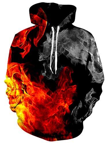ALISISTER Unisex 3D Galaxis Feuer Druck Hoodie Kapuzenpullover Coole Grafik Hooded Sweatshirt Herbst Winter Atmungsaktiv Pullover Hoodies für Herren Damen XXL