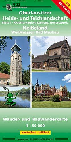 Oberlausitzer Heide- und Teichlandschaft - Blatt 1 KRABAT-Region, Kamenz, Hoyerswerda / Neißeland - Weißwasser, Bad Muskau: Wander- und Radwanderkarte 1:50 000 wetterfest, reißfest, GPS-fähig