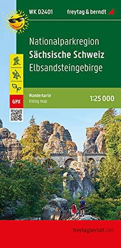 Nationalparkregion Sächsische Schweiz, Wanderkarte 1:25.000, freytag & berndt, WK D2401: Elbsandsteingebirge, wasserfest und reißfest, GPX Tracks (freytag & berndt Wander-Rad-Freizeitkarten)