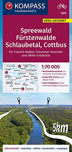 KOMPASS Fahrradkarte Spreewald, Schlaubetal, Fürstenwalde, Cottbus, Scharmützelsee 3370: Fahrradkarte. GPS-genau. 1:70000 (KOMPASS-Fahrradkarten Deutschland)
