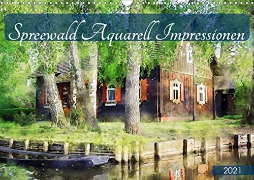 Spreewald Aquarell Impressionen (Wandkalender 2021 DIN A3 quer)