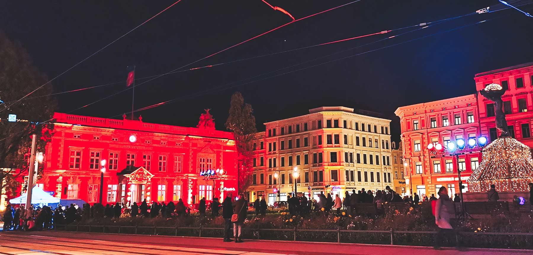 Postplatz Görlitz bei Nacht, bleuchtete Innenstadt erleben