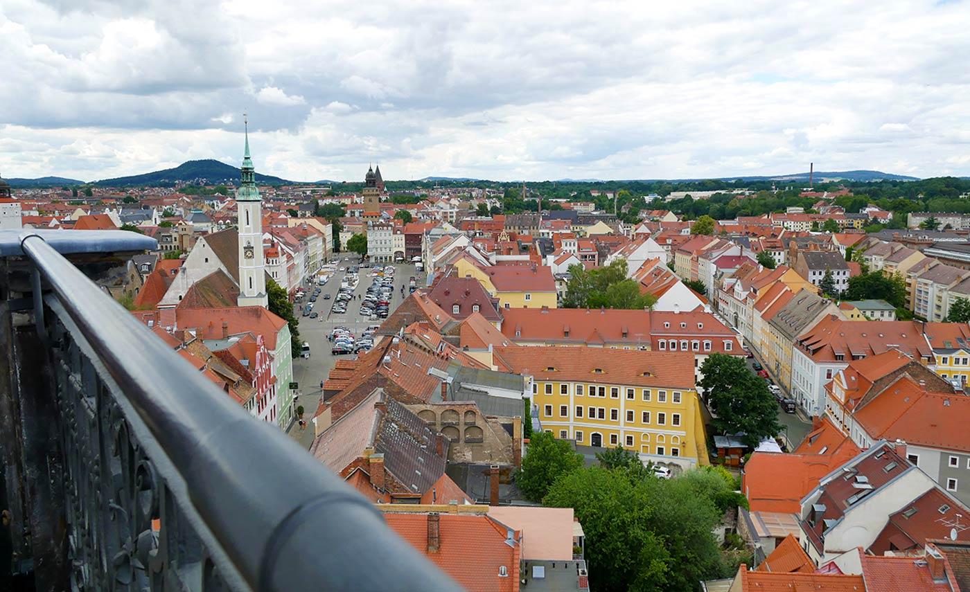 Rathausturm Blick auf den Obermarkt Landeskrone
