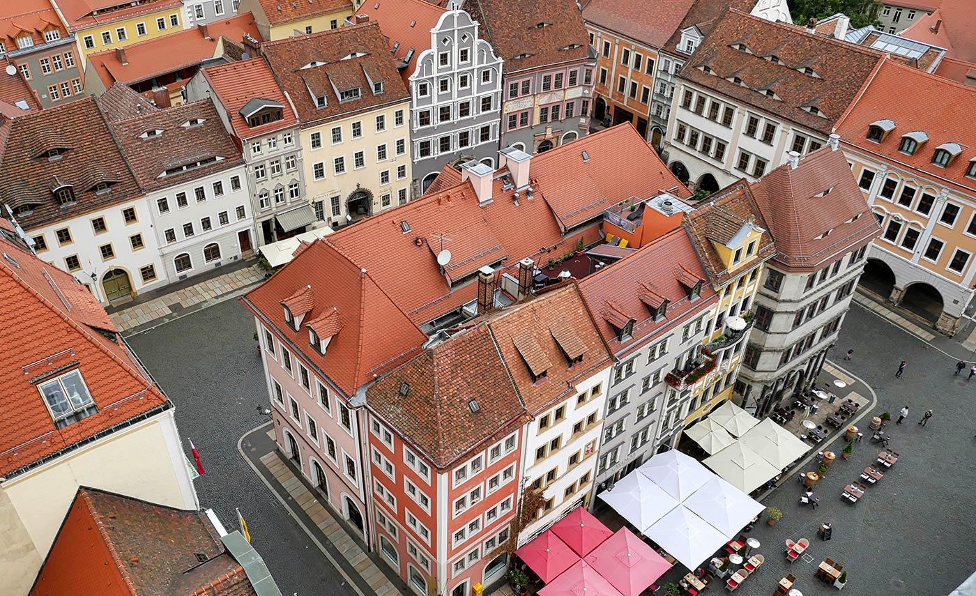 Rathausturm Blick auf den Untermarkt