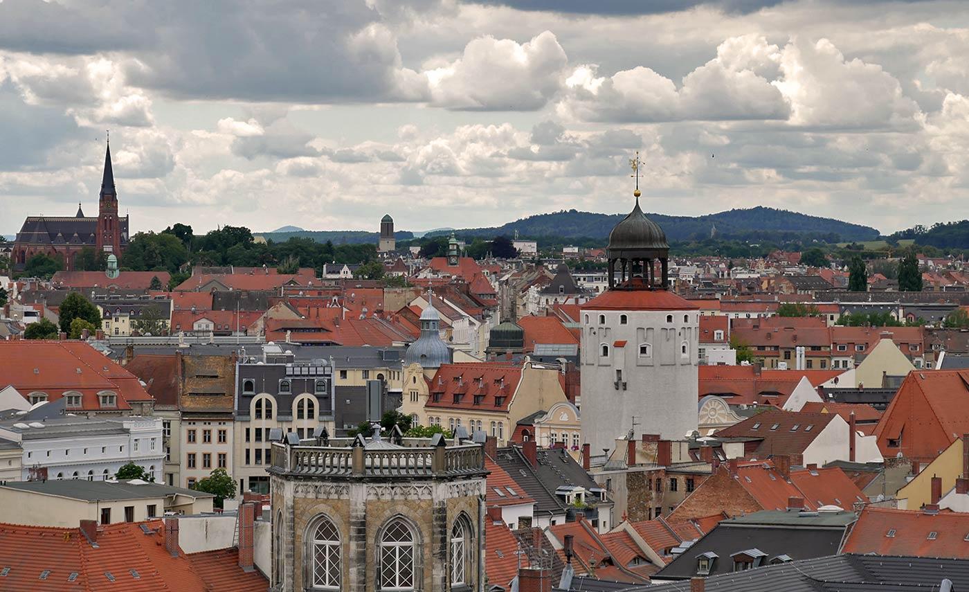 Rathausturm Blick über Görlitz auf den Dicken Turm
